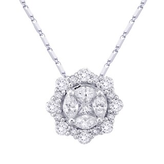 14k White Gold 3/5ct. TDW Halo Diamond Round Necklace