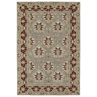 Hand-Tufted Perry Panel Grey Wool Rug - 2' x 3'