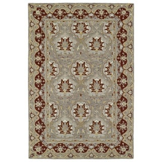 "Hand-Tufted Perry Panel Grey Wool Rug (5'0 x 7'9"") - 5' x 7'9"""