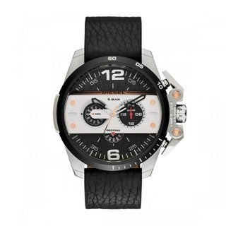 Diesel Men's Ironside Two-Tone Black Leather Chronograph Dial Watch