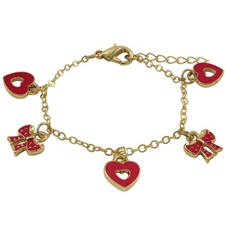 Luxiro Gold Finish Red Enamel Bow and Heart Children's Charm Bracelet