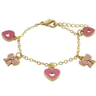 Luxiro Gold Finish Pink Enamel Bow and Heart Children's Charm Bracelet