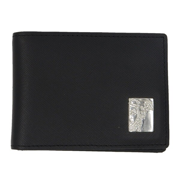 Versace Collection Black Saffiano Leather Medusa Card Case