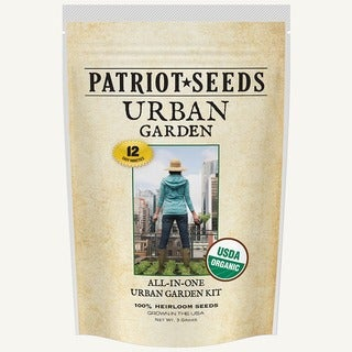 Organic Urban Garden Seed Kit with 12 Variety CCOF-Certified Organic Heirloom, Non-GMO Seeds in Re-sealable Pouch
