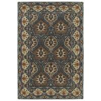 Hand-Tufted Perry Panel Turquoise Wool Rug (2' x 3')
