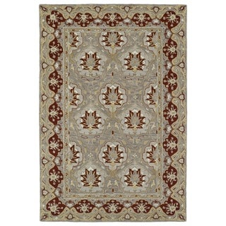 Hand-Tufted Perry Panel Grey Wool Rug (9'0 x 12'0)