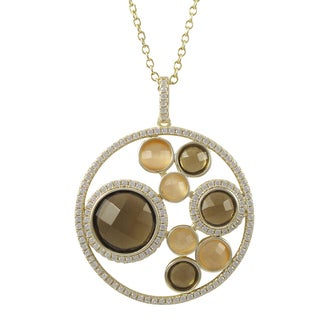 Luxiro Gold Finish Sterling Silver Semi-precious Gemstone Circle Pendant Necklace