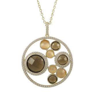 Luxiro Gold Finish Sterling Silver Semi-precious Gemstone Circle Pendant Necklace - Brown