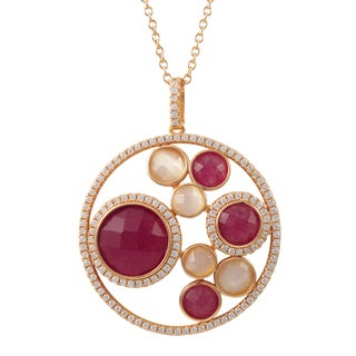 Luxiro Sterling Silver Rose Gold Finish Semi-precious Gemstone Circle Pendant Necklace