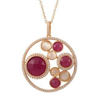 Luxiro Sterling Silver Rose Gold Finish Semi-precious Gemstone Circle Pendant Necklace - Pink