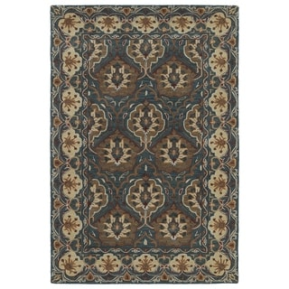 Hand-Tufted Perry Panel Turquoise Wool Rug (9'0 x 12'0)