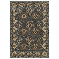 Hand-Tufted Perry Panel Turquoise Wool Rug (9' x 12')