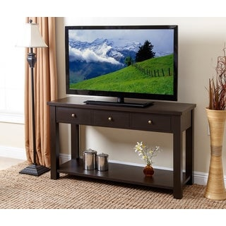 Abbyson Eva Espresso Wood 3-drawer Console Table