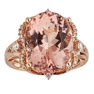 Anika and August 14-karat Rose Gold Oval-cut Large Mozambique Morganite and Diamond Ring