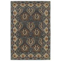 Hand-Tufted Perry Panel Turquoise Wool Rug - 5' x 7'9""