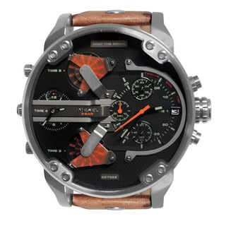Diesel Men's Mr. Daddy Black Dial Brown Leather Strap Multifunction Watch