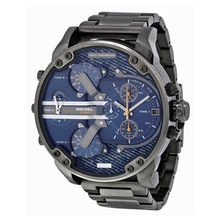 Diesel Men's Mr. Daddy 2.0 Blue Multifunction Dial Black Ion Plated Bracelet Watch