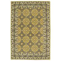 Hand-Tufted Perry Panel Gold Wool Rug (2' x 3')