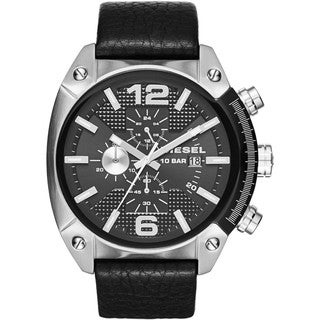 Diesel Men's Overflow Black Stainless Steel/Leather Chronograph Dial Watch