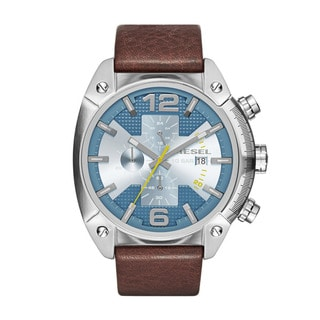 Diesel Men's Overflow Blue Dial Brown Leather Strap Chronograph Quartz Watch