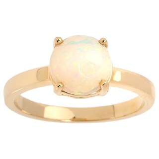 14k Yellow Gold Honeycomb Carved Ethiopian Opal Ring