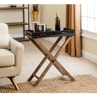 Abbyson Espresso Black Wood 2-Tray End Table