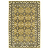 Hand-Tufted Perry Panel Gold Wool Rug (8' x 10')