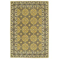 Hand-Tufted Perry Panel Gold Wool Rug (3' x 5')