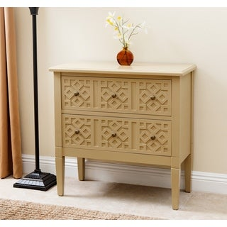 ABBYSON LIVING Harvard Beige Wood Side Cabinet