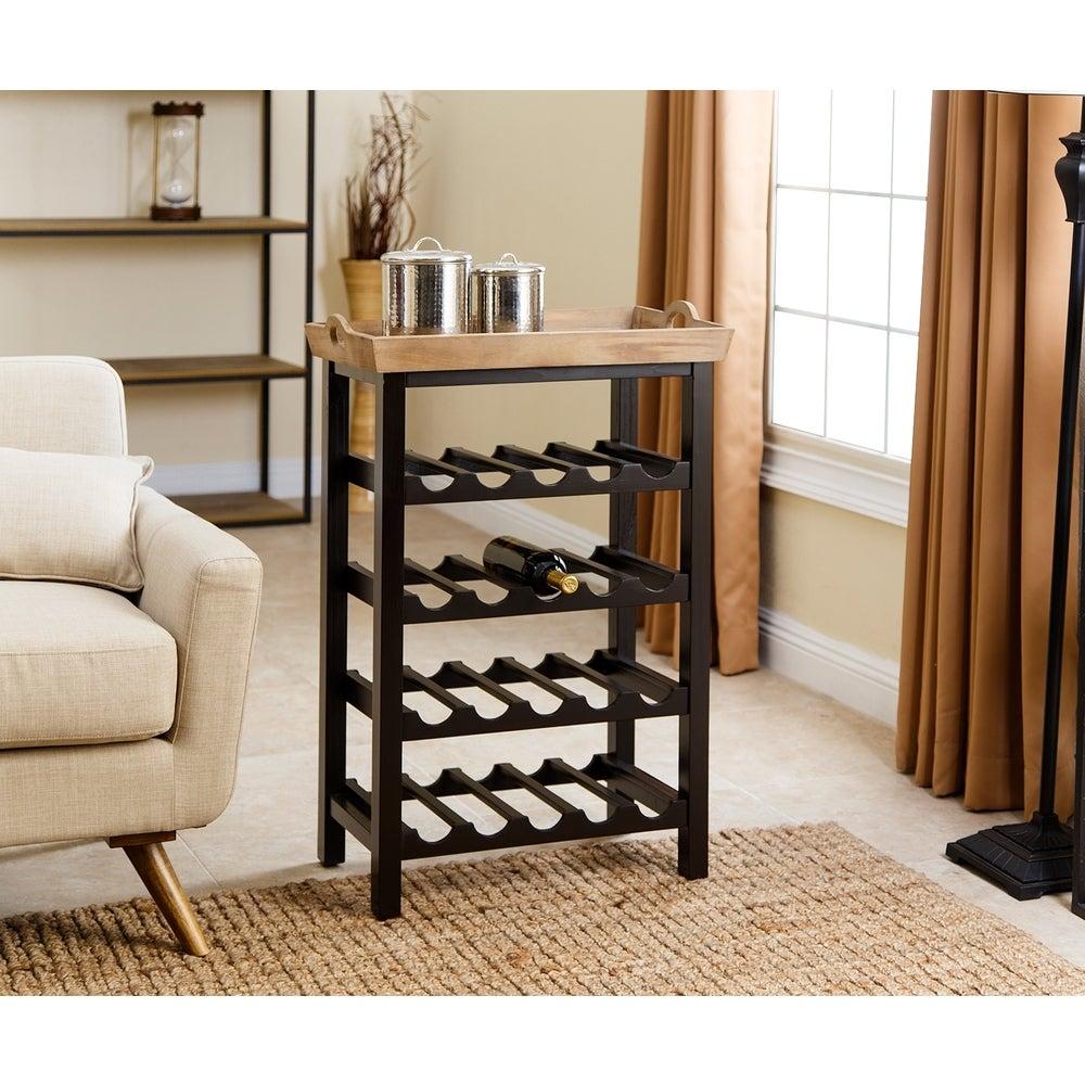 SODUKU Wine Rack Wall Mounted Handmade Metal /& Wood Wine Countertop Rack Wine Storage Shelf with 4 Bottle Cages /& 6 Long Stem Glass Espresso