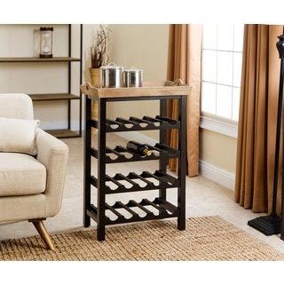 Abbyson Black and Tan Wood 4-tier Wine Rack