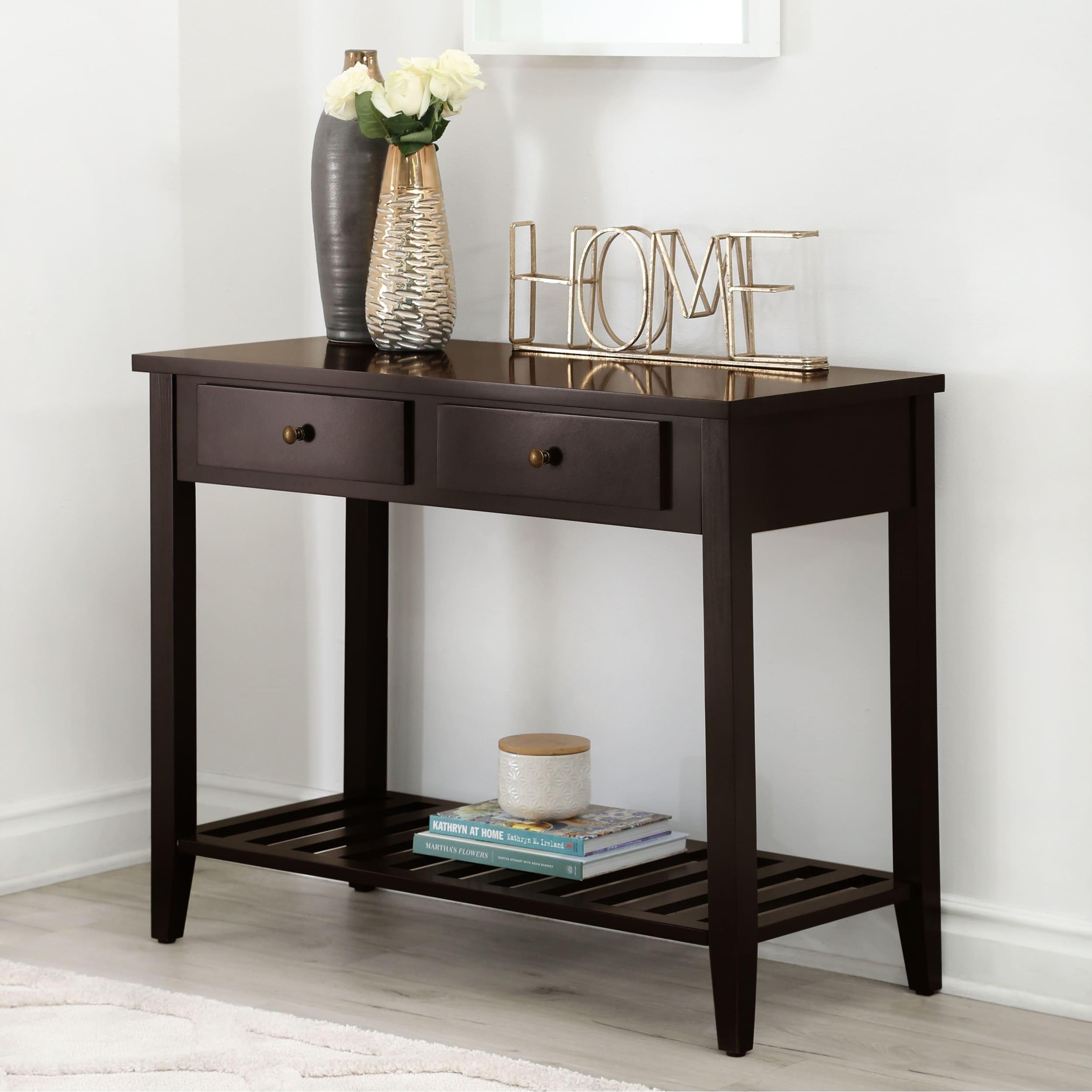 Abbyson Contemporary Espresso Black Wood Sofa Table