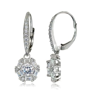 Icz Stonez 3 1/6ct TW Cubic Zirconia Baguette-cut Leverback Earrings