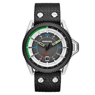 Diesel Men's Rollcage Grey and Black Leather Quartz Watch