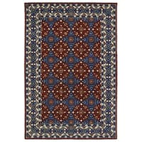 Hand-Tufted Perry Panel Red Wool Rug - 2' x 3'