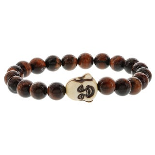 Fox and Baubles Men's Red Tiger Eye and Resin Buddha Stretch Bracelet