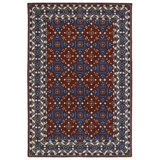 Hand-Tufted Perry Panel Red Wool Rug (8'0 x 10'0)