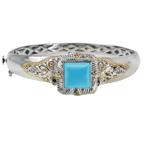 Gems en Vogue Sleeping Beauty Turquoise Bangle with White Sapphire and Dangling Blue Sapphire