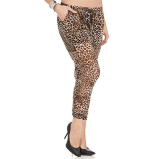Dinamit Women's Cheetah Print Chiffon Loose-fit Pants