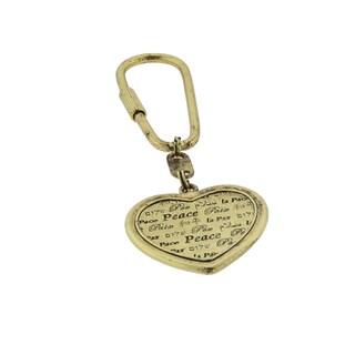 1928 Jewelry Goldtone Heart International Peace Key Fob