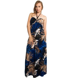 Women's Blue Cotton/Polyester Beaded Halter Maxi Dress