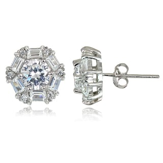 Icz Stonez 4 1/3ct TW Cubic Zirconia Baguette-cut Stud Earrings