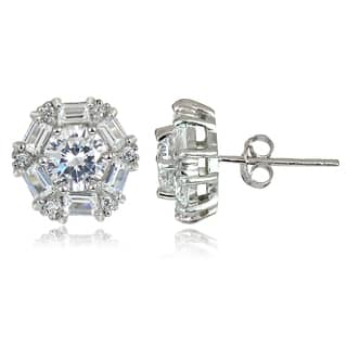 Icz Stonez 4 1 3ct Tw Cubic Zirconia Baguette Cut Stud Earrings 3