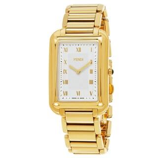 Fendi Men's F701414000 'Classico Rectangle' Silver Dial Yellow Goldtone Stainless Steel Swiss Quartz Watch