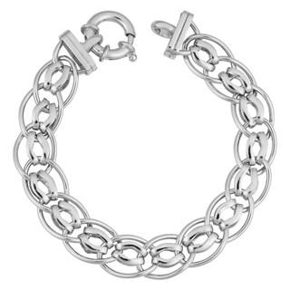 Argento Italia Rhodium Plated Sterling Silver Fancy Oval Link Bracelet (7.5 inch)