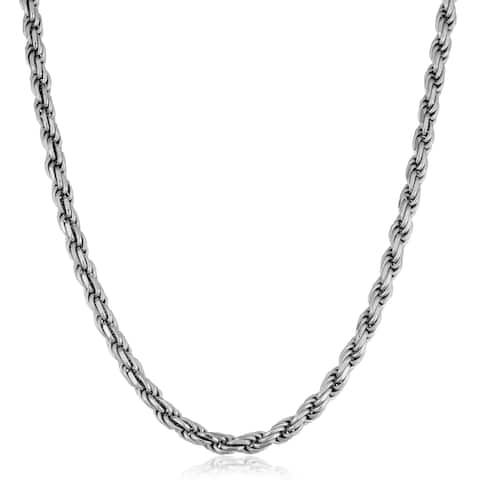 Fremada Italian Rhodium Plated Sterling Silver Men's 5.50-mm Rope Chain Necklace (18 - 36 inches)