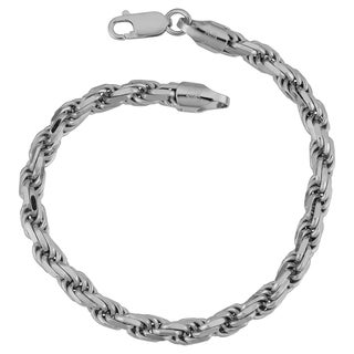 Fremada Italian Rhodium Plated Sterling Silver Men's 5.50-mm Rope Chain Bracelet (8.5 inches)