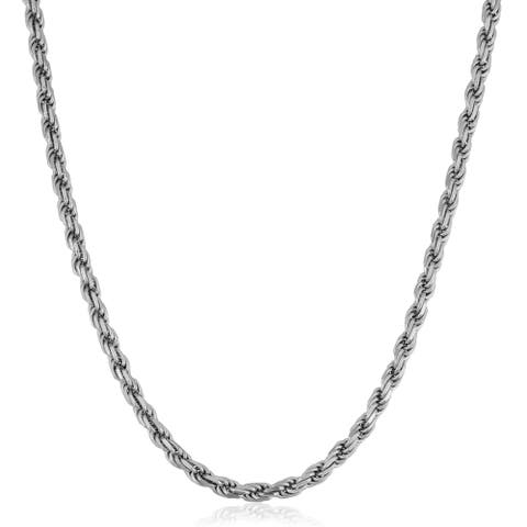 Fremada Italian Rhodium Plated Sterling Silver Men's 4.70-mm Rope Chain Necklace (18 - 36 inches)