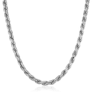 Fremada Italian Rhodium Plated Sterling Silver Men's 3.75-mm Rope Chain Necklace (18 - 36 inches)