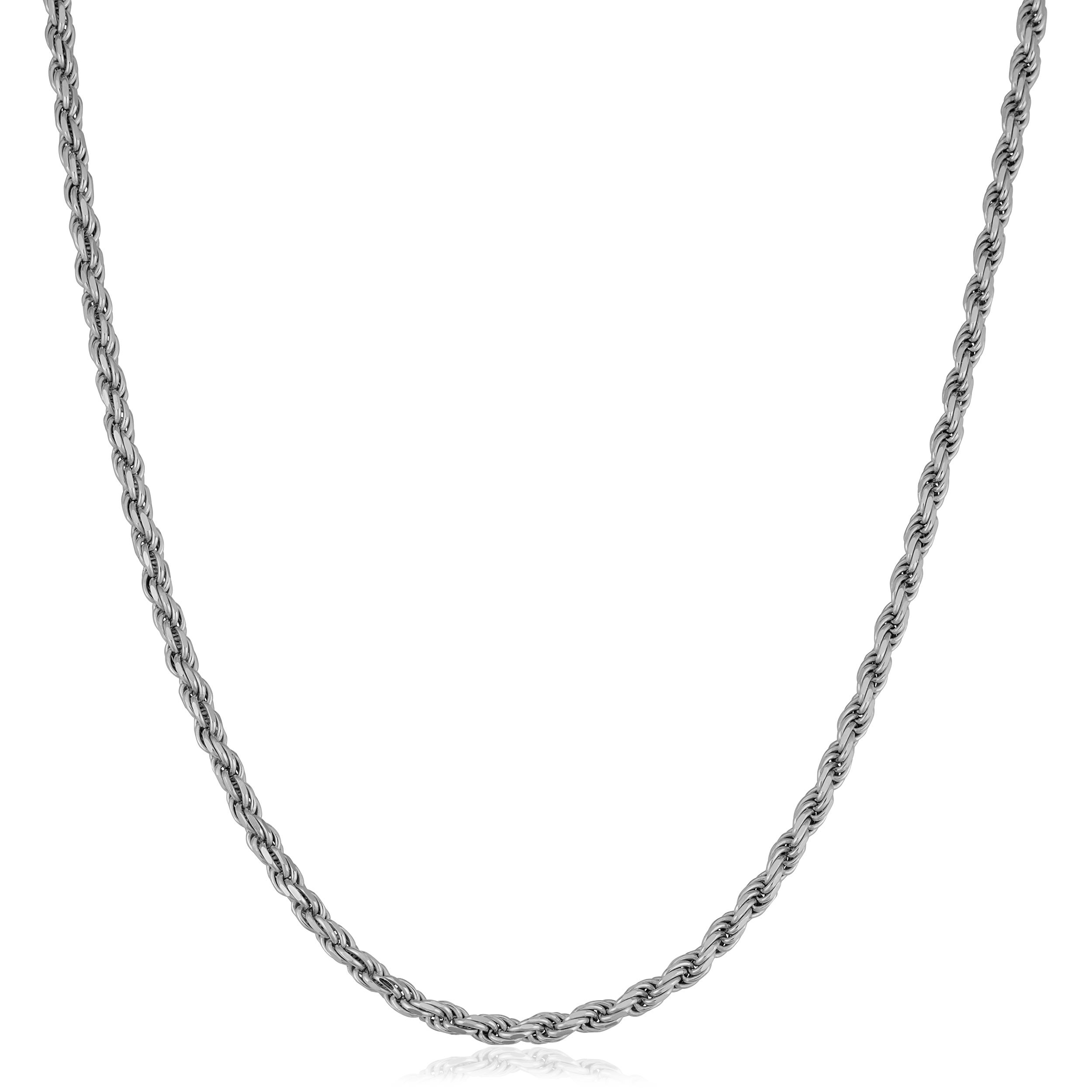 Sterling Silver Rhodium Plated Super Flat 035 Chain Figaro Made In ITALY